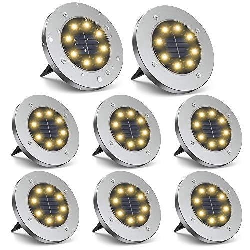 ZGWJ Solar Ground Lights,8 LED Solar Garden Lights Disk Lights...