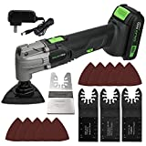 Oscillating Tool, GALAX PRO 20V Lithium- Ion Cordless Oscillating Multi-Tool with 1.3Ah Battery and Charger, 3pcs Blade and 10pcs Sanding Papers for Sanding, Grinding