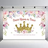 Mocsicka Princess Birthday Party Backdrop Gold Glitter Crown Floral Photo Background 7x5ft Once Upon a Time Princess Birthday Birthday Backdrops Cake Dessert Table Decors
