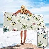 Lawenp Toalla de Playa de Secado rápido, diseño Retro de Estrellas atómicas, Microfibra Impresa, Toallas de baño Ligeras, súper absorbentes para niños y Adultos de 31.5 'X63'