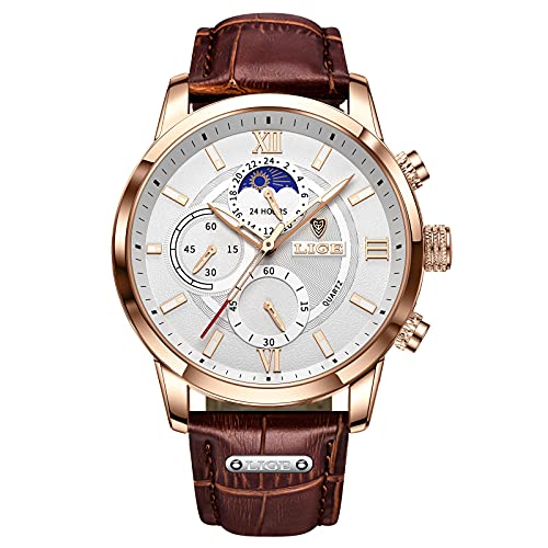 LIGE Herren Uhren Mode Wasserdicht Chronograph Analog Quarz Business Kleid Lederarmband Armbanduhr für Herren (Weiss-Braun)