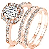 Jude Jewelers Silver Rose Gold Three-in-One Wedding Engagement Bridal Halo Ring Set (Rose Gold, 7)