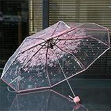 weichuang Paraguas transparente transparente con diseño de flor de cerezo y hongos Apollo Sakura 3 pliegues, paraguas de protección para niños, paraguas Parapluie unisex (color: rosa)