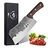 Forging Serbian Chef Knife, Turkey Cutting Butcher Knives Outdoor Full Tang Meat Vegetable Fruit Cleaver for Kitchen, BBQ or Restaurant (B-Forged Meat Cleaver)