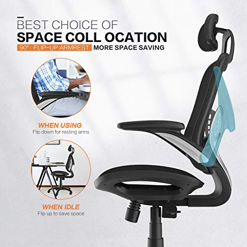 Product Image 6: Komene Home Office Chair - Ergonomic Desk Chair high Back Mesh Computer Chair with Lumbar Support & with Headrest, Thick Seat Cushion Recline Chair Swivel Task Chair
