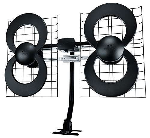 Antennas Direct Clearstream 4 TV Antenna, 70+ Mile Range, UHF, Multi-Directional, Indoor, Attic, Outdoor, Mast W/Pivoting Base/Hardware/Adjustable Clamp/Sealing Pads, 4K Ready, Black  C4-CJM