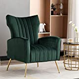 Artechworks Curved Tufted Accent Chair with Metal Gold Legs Velvet Upholstered Arm Club Leisure Modern Chair for Living Room Bedroom Patio, Green