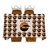 XXDD Estilo Africano Decorativo Mapa de Animales de Dibujos Animados Sika Ciervo Mantel de algodón Mantel de Lino Cubierta de Mesa de Comedor para decoración A2 135x160cm