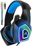 【虹色LED】V1ゲーミングヘッドセットps4ヘッドセットマイク付き有線軽量通気高音質ヘッドフォンノイズキャンセリングゲーミングヘッドホン重低音強化騒音抑制伸縮可能3.5mm FPSゲーム用PC用男女兼用XboxOne/PUBGに最適