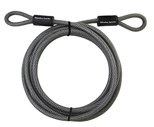Master Lock Cable, Steel Cable With Looped Ends, 72DPF,Black,15' x 3/8' Diameter