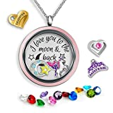 I Love You To The Moon And Back Necklace   Mother Daughter Gifts Floating Charm Necklace   Father daughter Gifts   Charms & Locket Jewelry Set   Mother Daughter Necklace   Charm Necklace for Girls