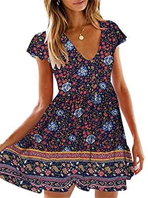 Run Large. Details please check the size information below. This modern dress is elated with all-over print and flared skirt, trendy and uncomplicated.The jersey dress refreshed to a variety of occasions with its lively appearance Feminine with short...