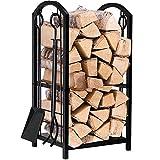 Amagabeli Porte bûches de cheminée avec 4 outils 74 x 40 x 30cm Ensemble...