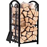 Amagabeli Porte bûches de cheminée avec 4 outils 74 x 40 x 30cm Ensemble d'outils de Cheminée...