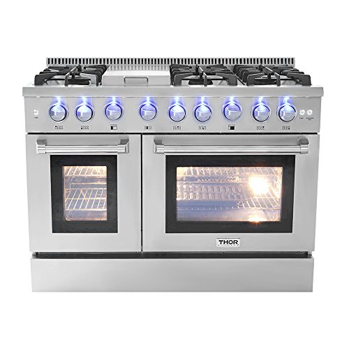 """48"""" 6 Burner Gas Range With Double Oven and Griddle"""