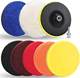 Benavvy 9Pcs Buffing Pads Kit, 7 Inches Large Size Buffing Pads, Car Foam Buffing Sponge and Wool Pads Kit with M14 Drill Adapter for Car Care Polisher Boat Waxing Polishing Sealing Glaze