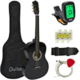 Best Choice Products 38in Beginner Acoustic Guitar Starter Kit w/Case, Strap, Tuner, Pick, Strings - Black