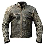 Men's Real Leather Genuine Motorcycle Distressed Black Antique Jacket (BLACK ANTIQUE, l)