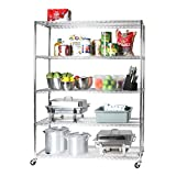 Seville Classics UltraDurable Commercial-Grade 5-Tier NSF-Certified Steel Wire Shelving with Wheels, 60' W x 18' D, Chrome
