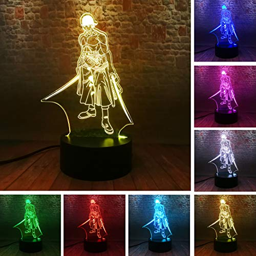 Fanrui Japanese Anime ONE Piece Roronoa Zoro 3D RGB LED Night Light USB Touch 7 Color Figure Hero...