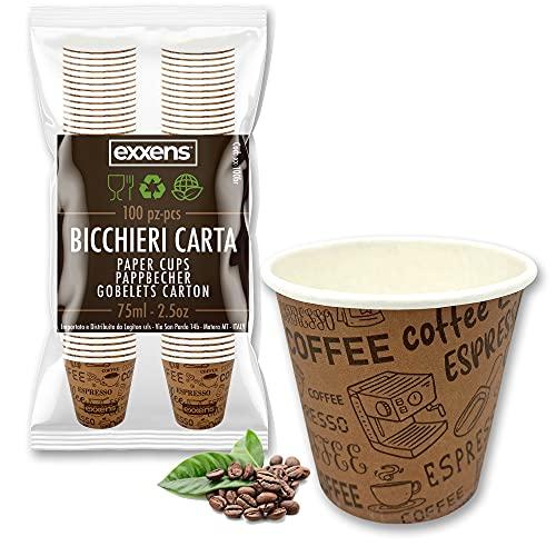 Exxens® 100 Pz Bicchierini Caffe Carta Espresso Tazzine Biodegradabili 75ml (exxens brown)