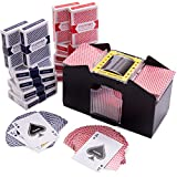 Brybelly Game Night Essentials - 4 Deck Battery-Operated Automatic Electric Card Shuffler + 12 Decks (6 Red/6 Blue) Regular Poker Index Playing Cards Set
