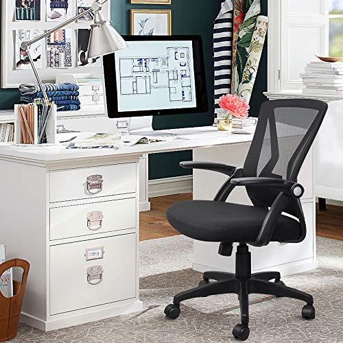 Product Image 6: QOROOS Mid Back Mesh Office Chair Ergonomic Swivel Black Mesh Desk Chair Flip Up Arms with Lumbar Support Computer Chair Adjustable Height Task Chairs