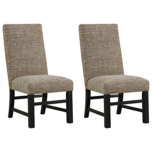 Ashley Furniture Signature Design - Sommerford Dining Side Chair - Set of 2 - Casual - Brown Upholstery - Black Wood Frame