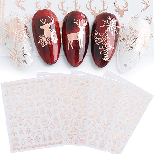 JMEOWIO 9 Sheets Christmas Nail Art Stickers Decals 2020 New 3D Snowflake Elk Pattern DIY Decoration Tools Accessories Long Beauty for Women Girls Kids(Rose Gold)