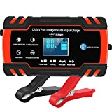 Car Battery Charger 12V/8A 24V/4A Automatic Smart Battery Charger/Maintainer with LCD Display Pulse Repair Charger Pack for Car, Lawn Mower, Motorcycle, Boat, SUV and More…