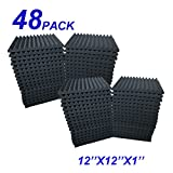 48 Pack Acoustic Foam Panel Wedge Studio Soundproofing Wall Tiles 12' X 12' X 1'