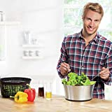 Black/Silver Stainless Steel Salad Spinner - N/A Silver Modern Contemporary 1 Piece Dishwasher Safe Includes Lid