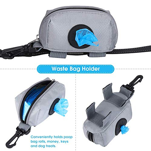 YOUTHINK Dog Leash Attachment Zippered Pouch Waste Bag Dispenser with Strap for Treats Key Money ID