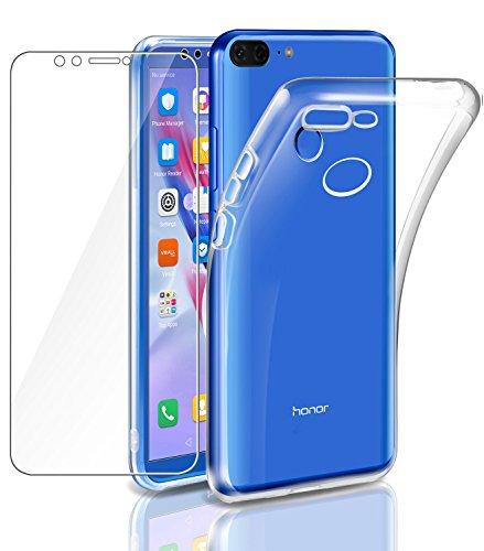 Leathlux Cover Honor 9 Lite Custodia + Pellicola Protettiva in Vetro Temperato Morbido Trasparente Silicone Custodie Protettivo TPU Gel Sottile Cover per Huawei Honor 9 Lite 5.65'