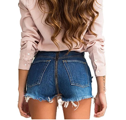 HNJZX Damen Low Waist Cutoff Denim Jeans Shorts Hot Pants Fashion Sommer Casual Pants, Large