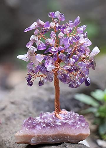 Crocon Amethyst Gemstone Money Tree with Natural Amethyst...