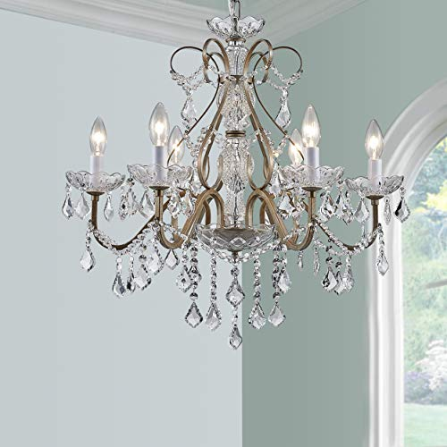 BESTIER Antique Silver Vintage Candle Chandelier Crystal Lighting Fixture Lamp for Dining Room...