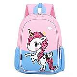 DTZW Mochila para Niños Mochila para Niños Pequeños Casual Animal Rosa Unicornio Mochilas Escolares Transpirable Ligero Impermeable