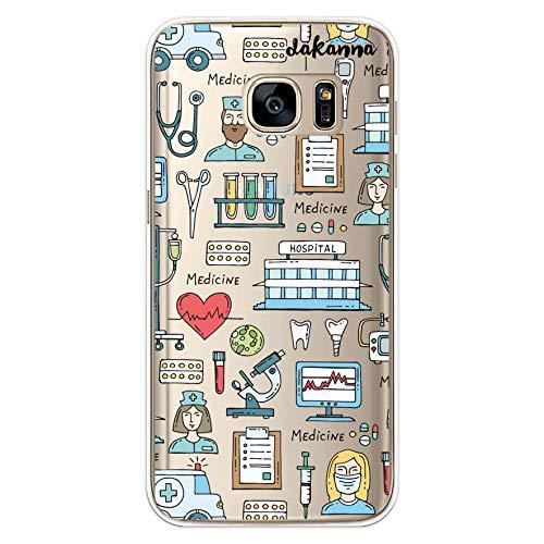 dakanna Funda para [Samsung S7 ] Dibujo: Simbolos Medicina Enfermera Ambulancia Corazón Hospital, Carcasa de Gel Silicona Flexible [Fondo Transparente]