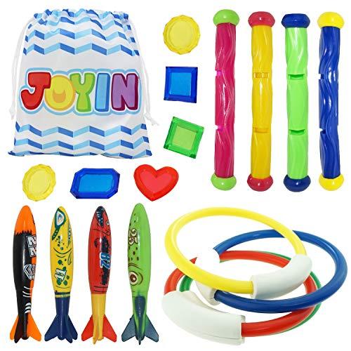 JOYIN 18 Stücke Tauchspielzeug Unterwasser Tauchen Diving Set, Tauchen Spielzeug für Kinder, Schwimmen Schwimmbad Sommerpool Schwimmspielzeug