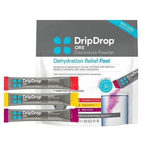 DripDrop ORS Electrolyte Hydration Powder Sticks Variety Pack (12 Lemon/10 Berry/10 Watermelon) 10g Sticks, 32 Count 8