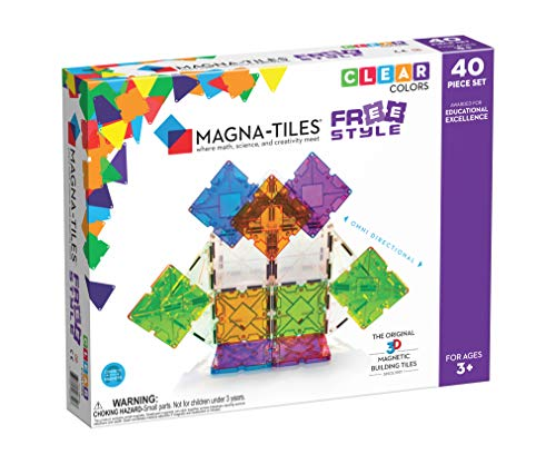 Magna Tiles Freestyle Set, The Original Magnetic Building Tiles for Creative Open-Ended Play, Educational Toys for Children Ages 3 Years + (40 Pieces), Clear Colors and Translucent (18840)