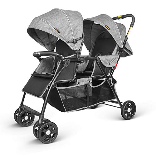 Besrey Geschwisterwagen Zwillingskinderwagen für 2 Kinder Zwillinger-Grau.