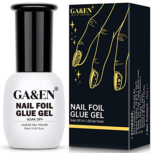 Nail Foil Glue Gel for Foil Art Stickers Strong Adhesion Nail Complete Transfer Metallic Floral Available 15ml1 Bottles Soak Off LED LAMP Required Tips Festive Party Manicure DIY