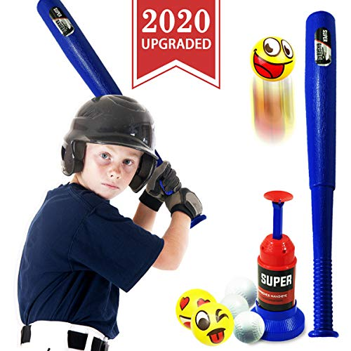 CozyBomB Kids Baseball Tee Toys Set - Toddler T Ball Bat Set with TBall Pitching Machine - Outdoor Toy for Toddlers Age 3 4 5 6 7 Year Old Boys and Girls Backyard Toys Girls Gifts