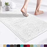 MAYSHINE 17x24 Inches Non-Slip Bathroom Rug Shag Shower Mat Machine Washable Bath Mats with Water Absorbent Soft Microfibers of White