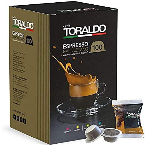 Caffè Toraldo Scatola Capsule Compatible Bialetti Gourmet Napoletano Caffè Espresso - 100 Pezzi