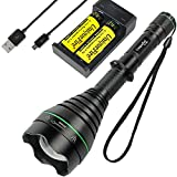 UniqueFire T67 IR Hunting Flashlight, 3 Watt 940nm LED Infrared Light Torch with 18650 Rechargeable Batteries and USB Charger丨IR Illuminator for Night Vision Device Camera Monitor Fill Light