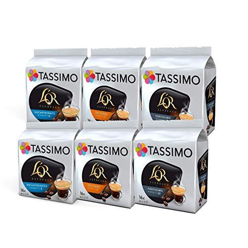 Tassimo Caffè L'OR Espresso Confezione Mista - L'OR Decaffeinato, Delizioso, Fortissimo - 6 Confezioni (96 Porzioni)
