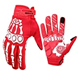 Cycling Gloves Full-Finger Gloves Skeleton Bones Motorcycle Bike Gloves Mountain-Padded Road Bicycle for Men Women Non-Slip and Resistance to Abrasion for Biking Climbing Hiking.(Red, L)